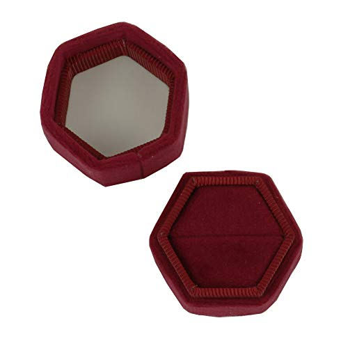(Koyal Wholesale Velvet Ring Box, Burgundy, Hexagon Vintage Wedding Ceremony Ring Box with Detachable Lid, 2 Piece Engagement Ring Box Holder, Modern Proposal Idea, Slim Ring Box Display)