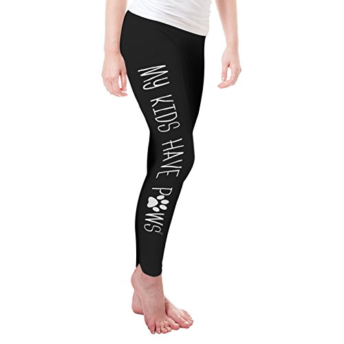 Twisted Envy Women's My Kids Have Paws Leggings Small Black