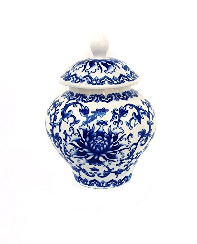 Chinese Jar - Ancient Chinese Style Blue and White Porcelain Tea Storage Helmet-shaped Temple Jar (Small size)