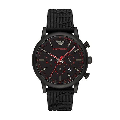 (Emporio Armani Men's Luigi Stainless Steel Analog-Quartz Watch with Silicone Strap, Black, 14 (Model: AR11024))