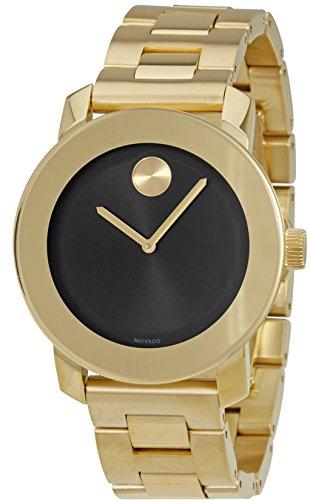 - Movado Bold Black Dial Gold-Tone Unisex Watch 3600397