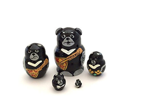 Bear MINI nesting dolls Russian Hand Carved Hand Painted 5 piece matryoshka Set from BuyRussianGifts
