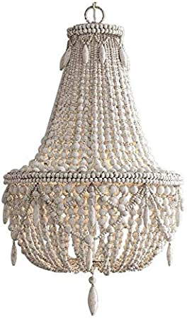 Farmhouse Wood Beaded Chandelier Ceiling Pendant 3 Light Fixture Wooden Bead and Metal Chandeliers Hanging Lighting Home Decor Lamp for Bedrooms,