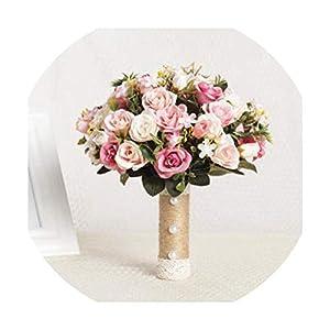 foosheeonzi New Weding Flower Bridesmaid Wedding Bride Bouquet Romantic Wedding Bouquet Flower Brides Wedding Accessories,Light Pink 34