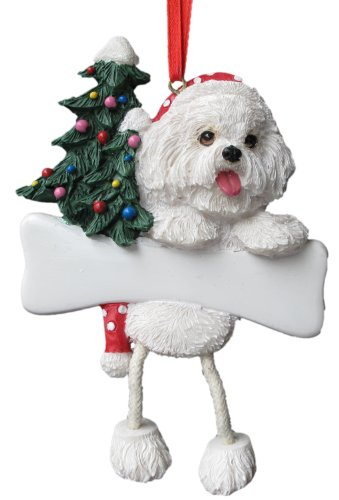 """Bichon Frise Ornament with Unique """"Dangling Legs"""" Hand Painted and Easily Personalized Christmas Ornament"""