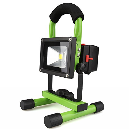 Wayrank 10W Rechargeable Floodlight Work Lights Outdoor Camping Lights, Built-in Rechargeable Lithium Batteries with USB Ports to Charge Mobile Devices