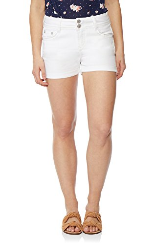 WallFlower Women's Juniors Luscious Curvy Bling Shorty Shorts in White, - Rhinestone Shorts Denim