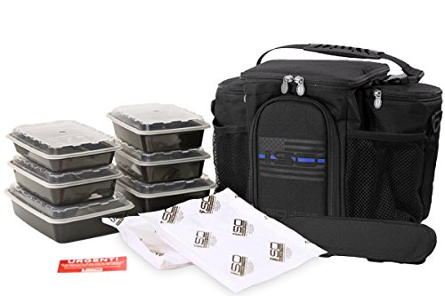 Meal Prep Insulated Lunch Bag - Isobag 3 Meal Thin Blue Line - 4 Fully Insulated Compartment Meal Management System - Includes 6 Reusable BPA-free Containers, 2 Ice Packs & Padded Shoulder Strap (Meal Isobag 3 System)