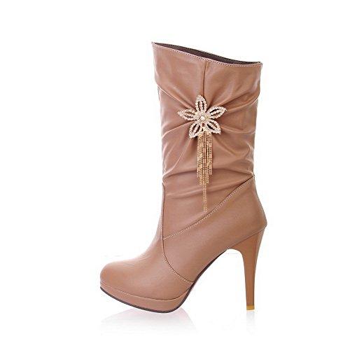 Metal Style BalaMasa Candy Girls Ruffle Imitated Glass Ornament Camel Diamond Leather Boots ww5q0Bg