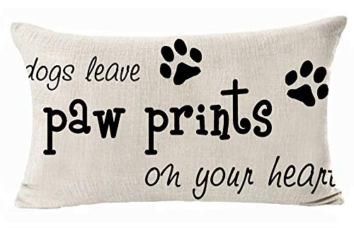 Dog Leave Paw Prints On Your Heart Cotton Linen Throw Pillow Covers Cushion Cover Decorative Sofa Bedroom Living Room Rectangle 12 X 20 Inches  (A)