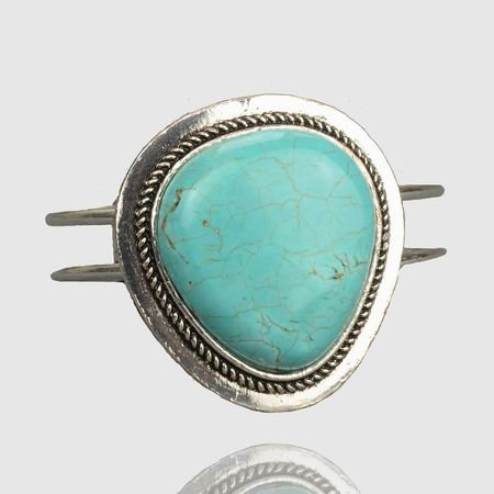 TRI-ANGLE Stunning RUGGED Huge Nature TURQUOISE Hollow Design SNAP Bangle Bracelet