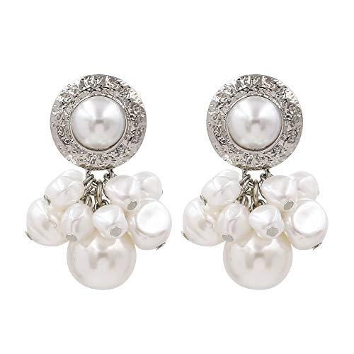 ESCYQ Women's Earrings European and American Fashion Style, White Personality Creative Hypoallergenic Earrings, Freshwater Pearl Earrings, Girls Birthday Gifts