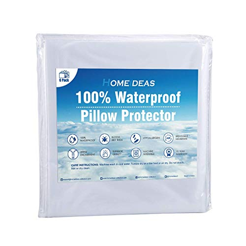 HOMEIDEAS 6-Pack Zippered Pillow Protector - 100% Waterproof - Hypoallergenic, Dust Mite Proof, Bed Bug Proof Breathable Pillow Cover - Standard Size