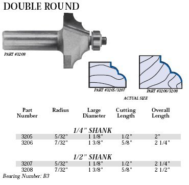 Double Roundover Router Bit - Whiteside Router Bits 3205 Double Round Bit with 5/32-Inch Radius, 1-1/8-Inch Large Diameter and 1/2-Inch Cutting Length