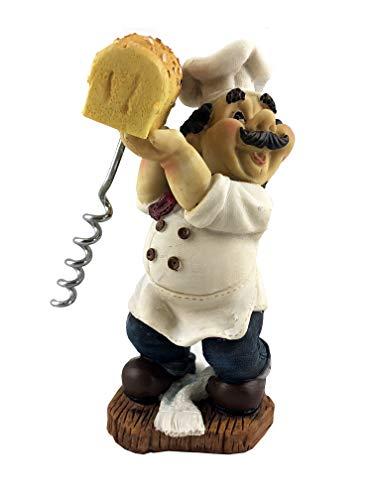 Fat Italian Chef Baker Holding Bread w/Wine Bottle Cork Opener Funny Novelty Figurine 6