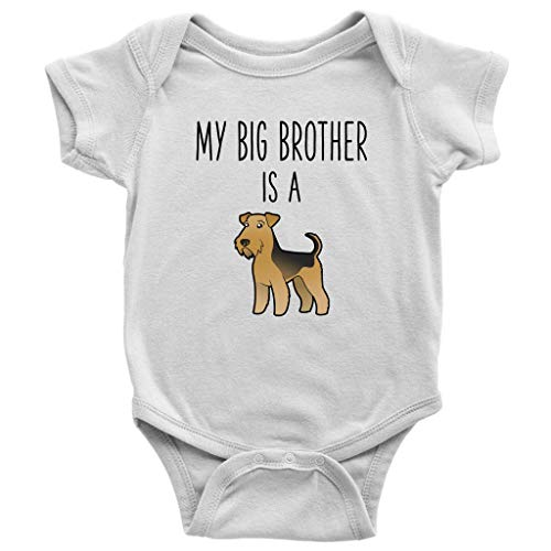 (My Big Brother is A Welsh Terrier Baby Bodysuit Funny Dog Lover Baby Clothes Baby Boy Baby Girl Bodysuit (6 Months) White)