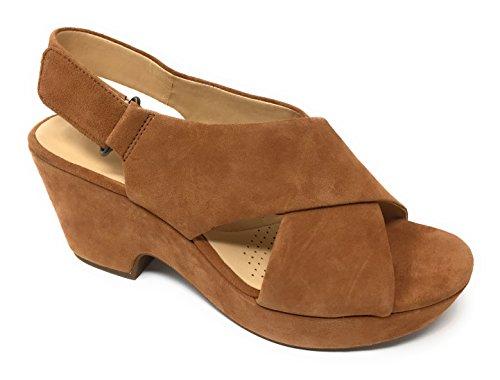 CLARKS Womens Maritsa Lara Platform Sandal, Tan Suede, 9 B(M) US ()