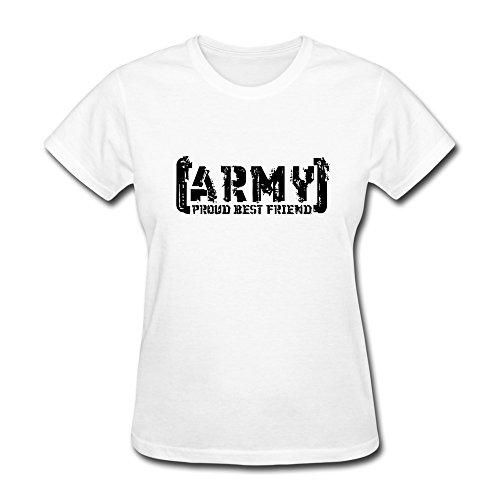 SUAMDAN Women's Proud Army Best Friend Tattered T Shirt