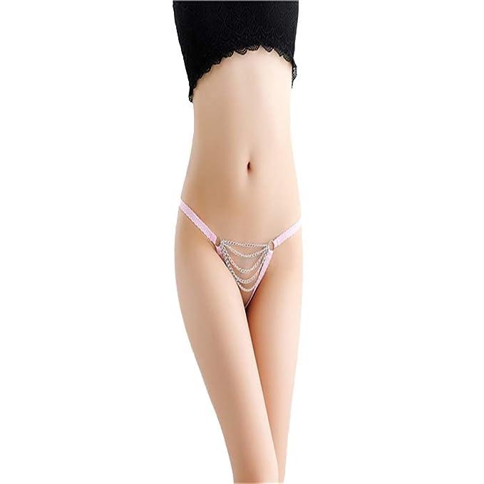 Shirloy De Gran tamaño Mujer Sexy Ropa Interior Sexy Cadena Calada Transparente Cintura Baja Tanga Tentación