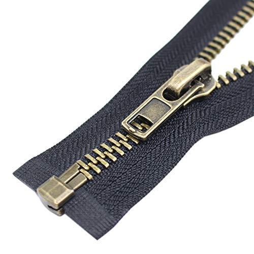 Find Bargain YaHoGa #8 28 Inch Anitique Brass Separating Jacket Zipper Y-Teeth Metal Zipper Heavy Du...