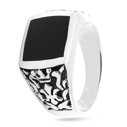 ling Silver Signet Ring Rectangle Shape Black Simulated Onyx Floral Fleur De lis Crown Design ()