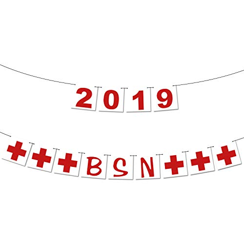 2019 BSN Banner, Nurse Party - Assembled - BSN Graduation Party Decorations | Nurse Graduation Party Supplies 2019 |Red and White Gradution Decorations, Medical Nurses Nursing Party, No DIY. Felt -