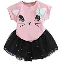Orangeskycn Girl's Summer Dress, Lovely Summer Kid Girl's Little Kitten Printed Shirt Dress Clothes Set