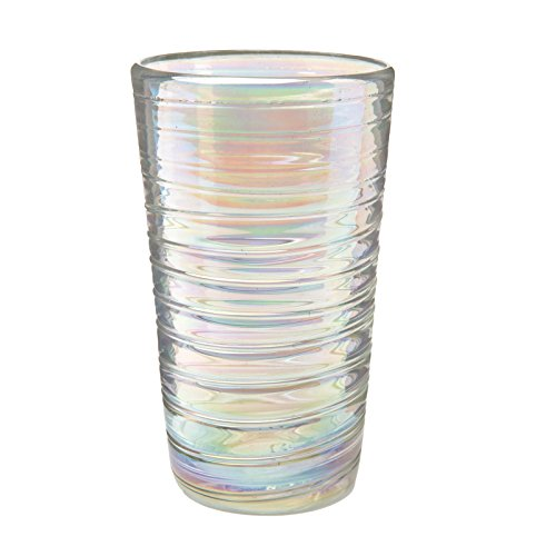 Amici Home, 7MCR355S6R, Perla Luster Hiball Drinking Glass, Iridescent Shine, Recycled Handblown Artisanal Mexican Tabletop Glassware, 16 Ounce Capacity, Set of 6