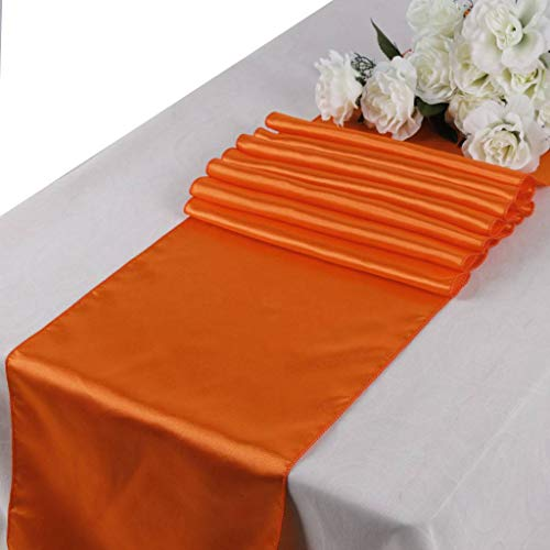 mds Pack of 10 Wedding 12 x 108 inch Satin Table Runner for Wedding Banquet Decoration- Orange from mds