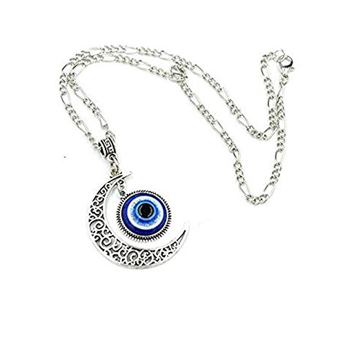 Glass Evil Eye Necklace (Crescent Moon Pendant Blue Evil Eyes Glass Eye Art Picture Triple Goddess Pendant Necklace)