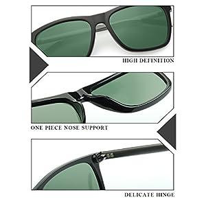 IALUKU Wayfarer Sunglasses Polarized Women Men Mirrored UV400 Full Frame (Black / Green, 60)