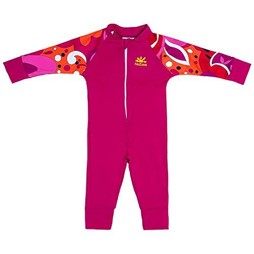 Nozone Baby Girl Sun Romper - Sun Protective Bodysuit in Hot Pink/Brandie, 6-12 Months