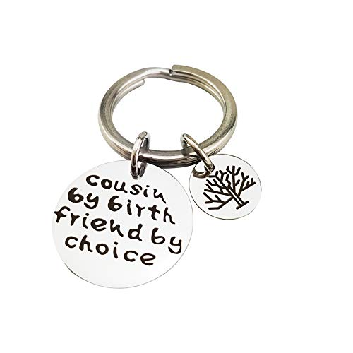XGALA Cousin By Birth Friend By Choice Key Chain Tree Of Life Stainless Steel