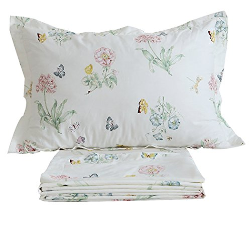 FADFAY Butterfly Meadow Bed Sheet Set 4-Piece 100% Cotton Stain Drill Sheets Twin Size