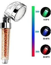 Zorara LED Duschkopf, Wellnessbrause Handbrause 3 Farben Brausekopf Brause Dusche mit Farbwechsel Temperatur, Abnehmbar Massage Spa Duschbrause Wassersparend mit Mineral Ball Filter