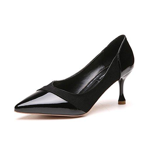 37 Zapatos GaoHX Tamaño Mezclado Zapatos de de Color Tacón Temperamento Color empalma Vino Negro Individuales PU Alto de con Mediano Que con Zapatos Bdwxpdr