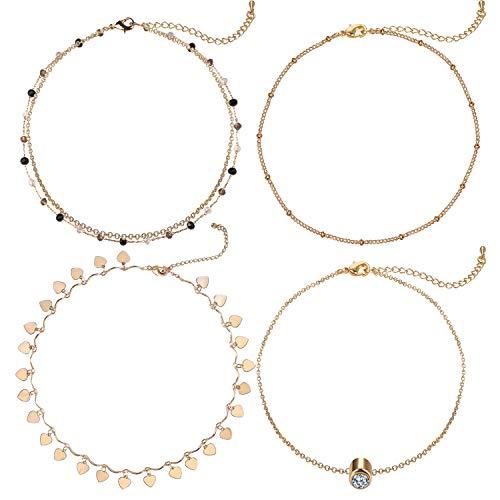 Gold Love Crystal Layered Choker Necklace 4 Piece Minimalist Dainty Choker Set Handmade Necklace for Women Girls Fashion Jewelry Set