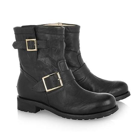 89ea2b5630b Jimmy Choo Youth Short Leather Biker Boots Black  Amazon.co.uk  Kitchen    Home