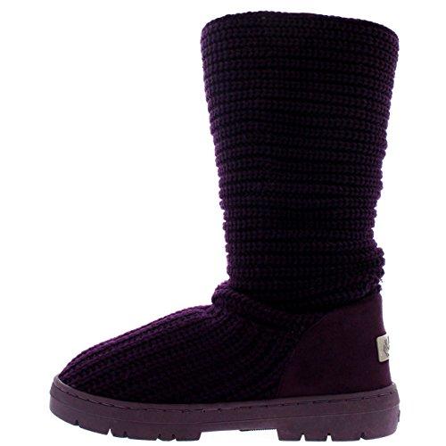 Stivali Da Neve Donna Nylon Corto Inverno Neve Pioggia Stivali Impermeabili Caldi A Maglia Viola