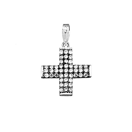 Croix pendentif or blanc 18k zircone cubique [AA4922]