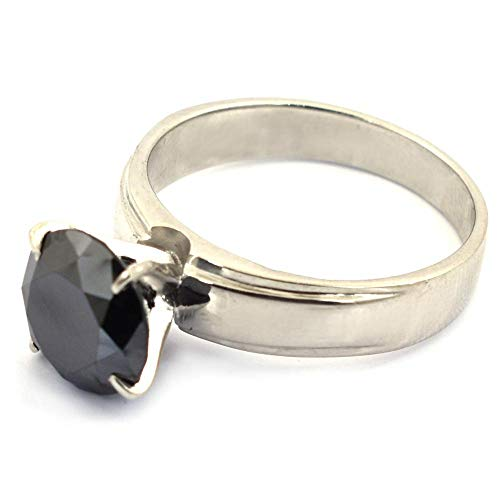 skyjewels 1.42 Cts Round Shape Black Diamond Ring in 925 Sterling Silver Gift for Partner