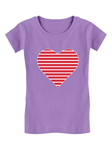 Red Striped Heart Love - Valentine's Day Gift Toddler/Kids Girls' Fitted T-Shirt 4T (Striped Heart Tee)