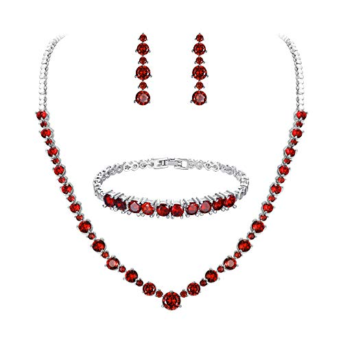 FANZE Women's Prong All Round Cubic Zirconia Sparkling Wedding Bridal Necklace Dangle Earrings Jewelry Set(Red) (Vintage Sparkling Necklace Rhinestone)