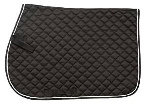 Tough 1 EquiRoyal Square Quilted Cotton Comfort English Saddle Pad, Black