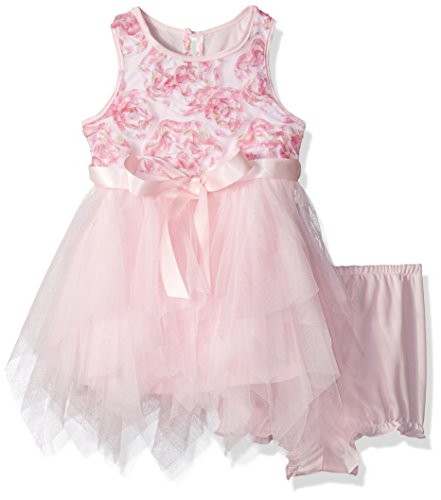 - Marmellata Baby Girls' Ballerina Party Dress with Ribbon at Waist, Bright Pink Soutache, 12 Months