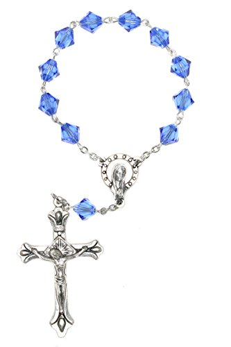 One Decade Pocket Rosary made with Sapphire Blue Swarovski Crystal elements (September)