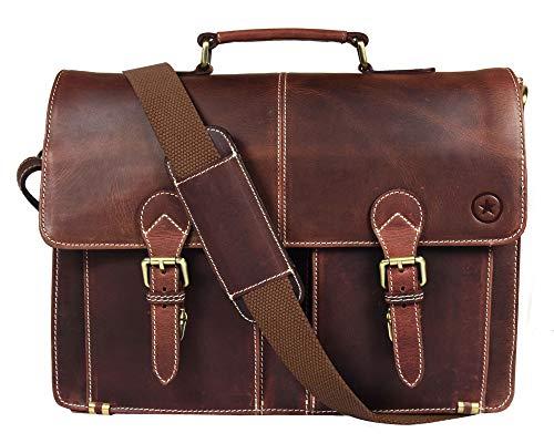 16'' Leather Briefcase Messenger Bag for Laptop by Aaron Leather (Walnut) by AARON LEATHER GOODS VENDIMIA ESTILO (Image #1)