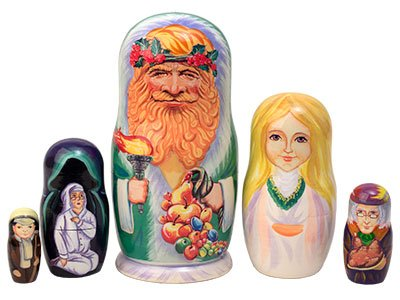 Made in Russia Christmas Carol Nesting Doll 5pc./5'' aka Scrooge Collectible Babushka Russian Matryoshka Doll top quality 100% Guaranteed! by Golden Cockerel (Image #4)