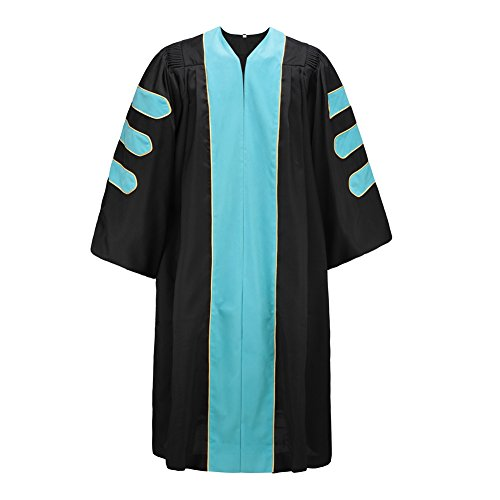 Robe Depot Deluxe Doctoral Gown For Professor, Sky Blue Velvet Trim Gold Piping Size 51 by Robe Depot