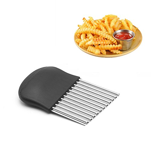 Stainless Steel Crinkle Cutter Kitchen Gadget Cutting Tool For Chopping Potato Vegetable Fruit Waffle Fries Size 14 X 9cm